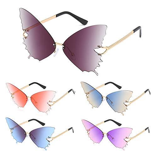 Tianayer 5 Paare Mode Schmetterling Sonnenbrille Neuheit Randlose Flügelform Brille Übergroße Sommerbrille (Schmetterling)