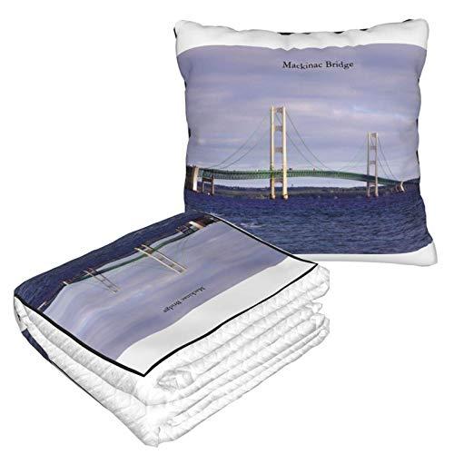 DJNGN Mackinac Bridge - Manta y Almohada 2 en 1 cálida, Suave y Plegable, para el hogar, Oficina, avión, Camping, Coche, Almohada para el hogar, Oficina, avión, Camping, Viajes en Coche