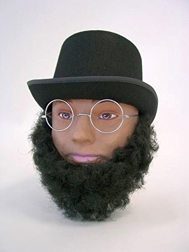 Amakando Fausse Barbe président américain barbiche Noire fournie Abraham Lincoln Accessoire déguisement
