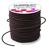 YUGDRUZY 109 Yards Elastic Cord with Sewing Scissors,2mm 328ft Craft Wire Elastic Stretch String Polyester Nylon Rope Handmade Earloop Band for DIY Jewelry Bracelet Necklace Beading Making - Brown