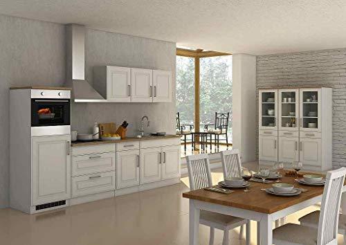 idealShopping GmbH Küchenblock Rom 290 cm im Landhaus Stil weiß matt ohne Elektrogeräte