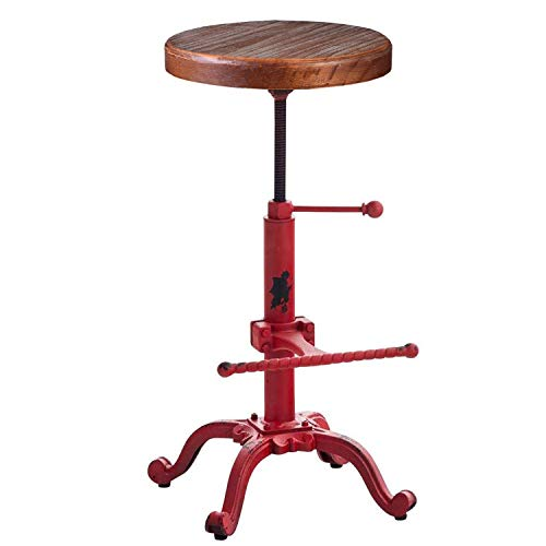 Topower Industrial Retro Vintage Farm Wooden Tractor Stool Kitchen Swivel Height Adjustable bar...