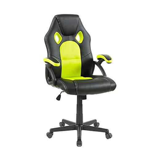 Neo ® Schwenkbar PU Leder Grillmatte Büro Rennen Gaming Stil Computer Schreibtisch Sessel - Schwarz & Grün, 114cm x 47cm x 48cm