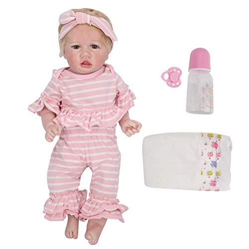 """Reborn Baby Doll Girl, 22 """"Silicone Realistic Soft Weighted Full Body Cute Lifelike Handmade Reborn Girl Doll com roupas rosa, Lifelike Toddler adorável presente para crianças Aniversário para meninas de 3 anos"""