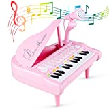 Piano Keyboard Toy for Kids Toddlers, 24 Keys Musical Educational Toy Gift for 1 2 3 4 5 Year-Old Girls Pink