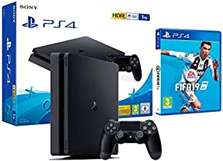 PS4 Slim 1Tb Negra Playstation 4 Consola + FIFA 19