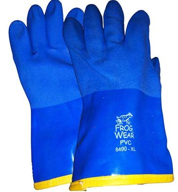 Frogwear 8490 Insulated & Waterproof Blue Tripple Dipped Work Gloves, Ultra Flexible, Chemical & Oil Resistant, Sizes M-XL (1 Pair) (Large)