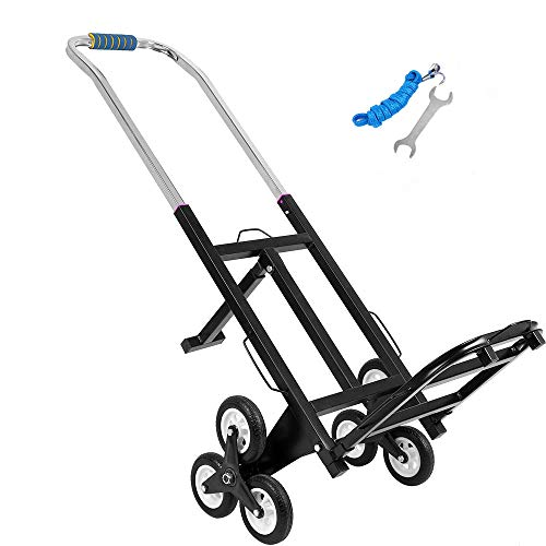 ZEHNHASE 500LBS Capacity Stair Climbing Cart, 150kg Heavy Duty Stair Climbing Truck, Folded Height Three-Wheel Chassis And Portable Stair Climber Hand Truck