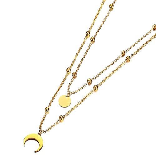 JEFEYI Gargantilla de Estrella de Acero Inoxidable con Cadenas de 3 Capas para Mujer, Collares con Colgante de Borla de Luna de Disco Redondo de Cuerno Multicapa SA095-2-Gold