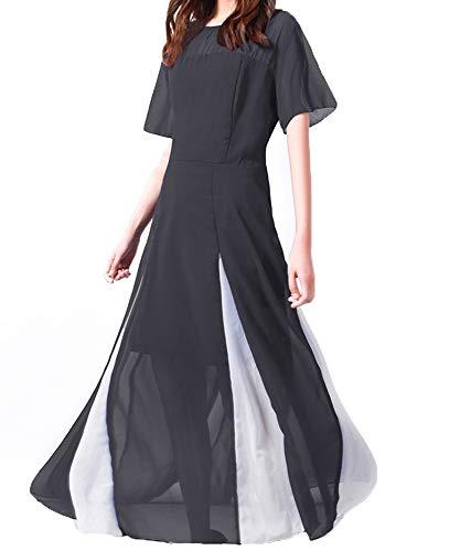 Vestido De Gasa con Cuello Redondo Y Manga Corta De MurciéLago De Cintura Alta para Mujer De Primavera
