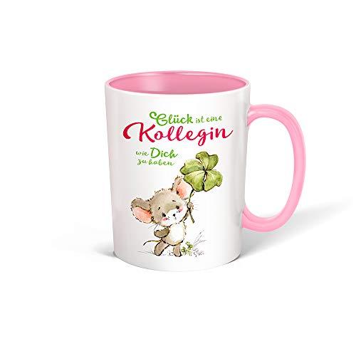 Trötsch Tasse Glück Kollegin weiß rosa: Kaffeetasse Teetasse Geschenkidee Geschenk (Keramiktasse / Glücksmaus)