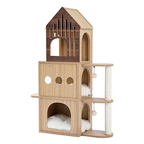 Amazon Brand – Umi Holz Kratzbaum Tower Bridge-förmiger Katzenspielturm Mehrstufiges hölzernes Katzenhaus Großes Katzenaktivitätszentrum Great Space Condos Höhe 112 cm beige