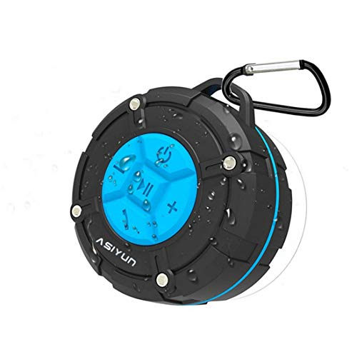 ASIYUN Shower Radios, Waterproof Speaker with Louder HD Sound, Portable Wireless Speaker with Suction Cup & Sturdy Hook, Built in Mic, for Bathroom, Pool, Beach, Outdoor (Blue)