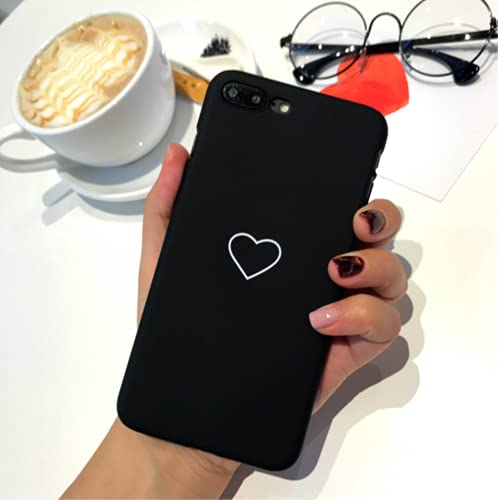 Caja del teléfono para iPhone11 Pro MAX Funda iPhone 7 8 6 6s Plus Funda iPhone X XS MAX XR Corazón Delgado Mate Apple iPhones Coque para iPhone 5 5S SE Negro