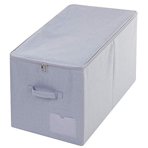 60L Extra Large Quilts Tröster Decken Bettdecken Aufbewahrungsbehälter mit Deckel, staubdichte Aufbewahrungsbox für saisonale Bettwäsche, Hellgrau