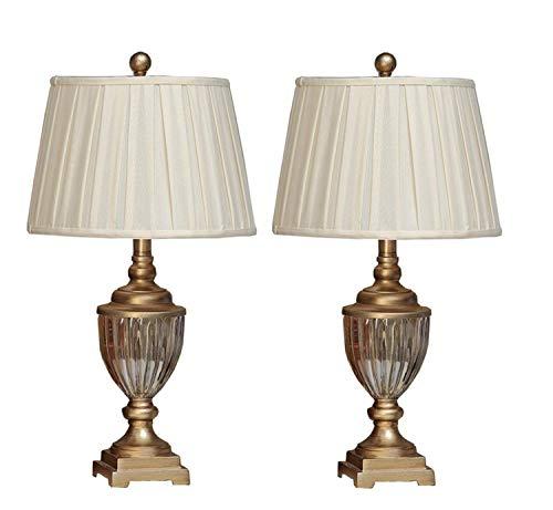 UNIQUE-F 2 X Kristall Antike Messing Tischlampe Bett Beleuchtung Leinen Lampenschirm Moderne Metall Wohnzimmer Schlafzimmer (Gold)