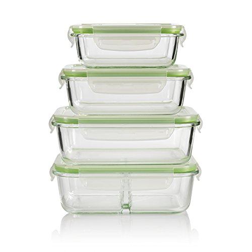 GOURMETmaxx Glas-Frischhaltedosen klick-it 8 TLG. | Spülmaschinen- Mikrowellen- und Gefrierschrankgeeignet | Deckel BPA-frei mit Silikon Dichtungsring und 4-Fach-klick-Verschluss [Limegreen]