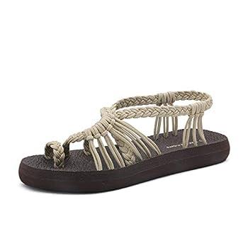 DREAM PAIRS Women s Beige Flat Sandals Summer Braided Strap Yoga Comfortable Beach Sandals Size 8 M US Athena_10