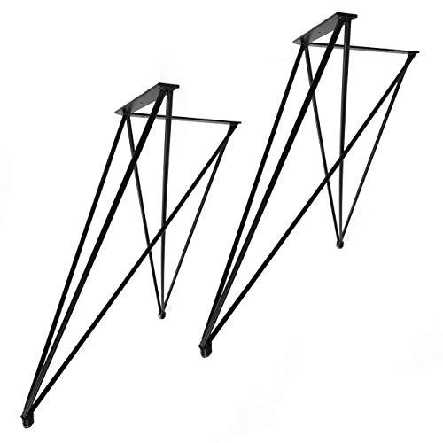 """2x Natural Goods Berlin Tischgestell\""""X\"""" Set Hairpin Legs Tischbeine  12mm Stahl   Esstisch, Schreibtisch, Bank, Couchtisch   Schwarz, Weiß (H 72cm (Ess-/Schreibtisch), Schwarz)"""