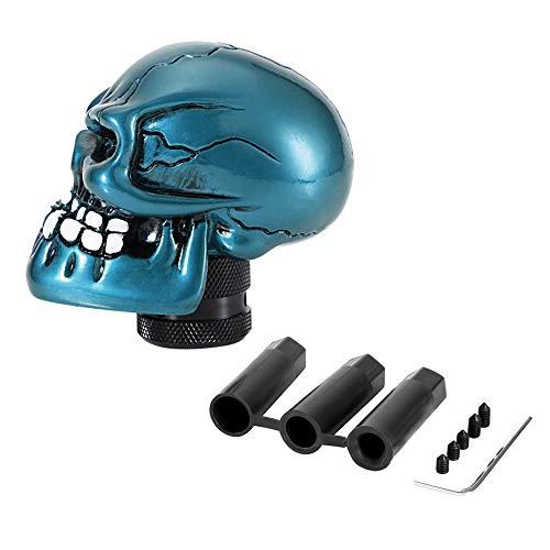 Schaltknauf Hebel, Skeleton Skull Head Car Modifizierte Schaltknauf Stick Lever Shifter Universal (Cyan)