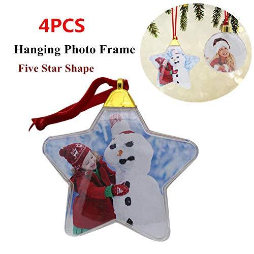 4 piezas de marco de fotos colgantes de Navidad, adorno colgante de árbol de Navidad, marco de fotos transparente...