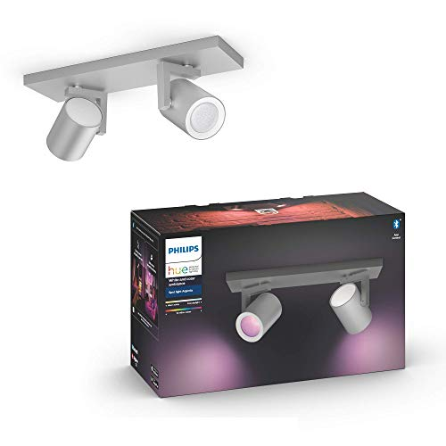 Philips Hue White & Col. Amb. LED 2-er Spot Argenta, aluminium, dimmbar, 16 Mio. Farben, steuerbar via App, kompatibel mit Amazon Alexa (Echo, Echo Dot), 915005762401