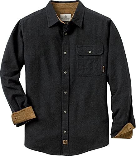 Legendary Whitetails Men's Standard Buck Camp Flannel Shirt, BlackHeather, Large