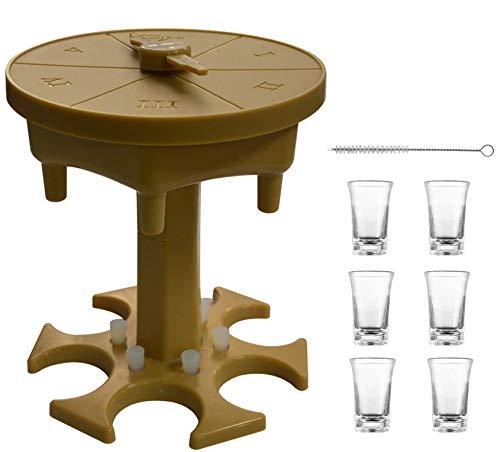 AUBIG Dispensador de vasos de chupito y soporte para rellenar líquidos, con plato de juego, distribuidor de chupito con 6 tazas para bar, cócteles, gran fiesta Color marrón transparente. Talla única