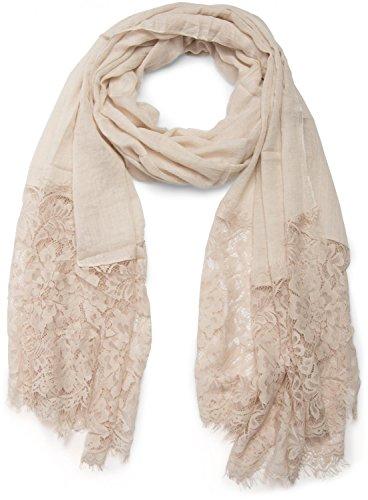 styleBREAKER unifarbener Schal mit Spitzen Besatz, Blumen Muster und Fransen, Stola, Tuch, Damen 01016112, Farbe:Beige