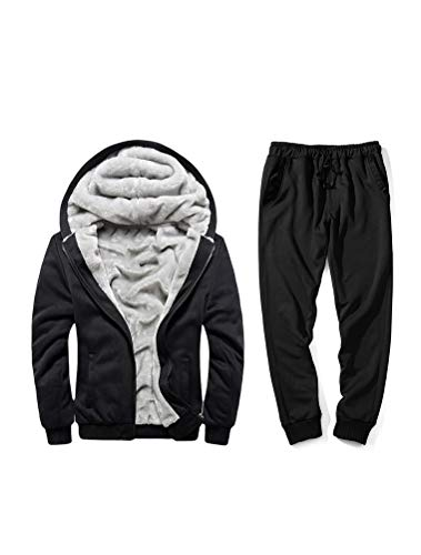PASOK Men's Casual Tracksuit Full Zip Running Jogging Athletic Sports Jacket and Pants Set Thicken Style Black 2XL