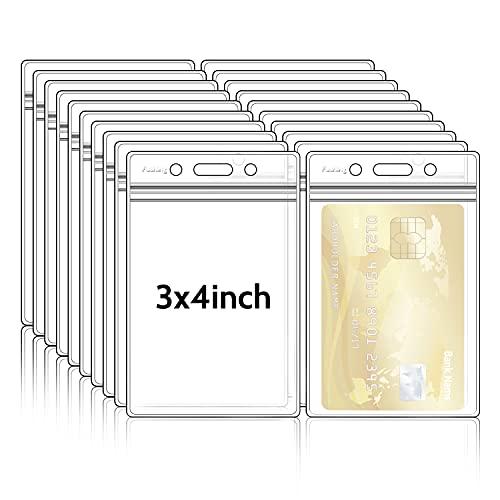 Fushing Pack de 50 plástico transparente vertical Badge titulares, nombre Tag titulares, titulares de la tarjeta (L)