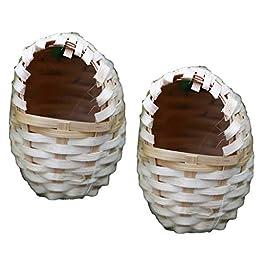 B Blesiya 2Pcs Natural Bamboo Bird Nest Birdhouses, Perfect for Feeding or Breeding, Garden Nature Art Craft Wedding Home Decoration – Egg Shaped, L