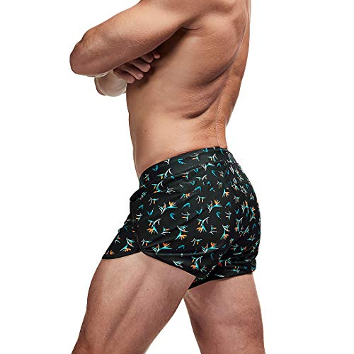 AIMPACT Mens Swim Trunks Quick Dry Swimming Shorts Surf Swimwear Sexy Shorts with Lining(Flower Print S)