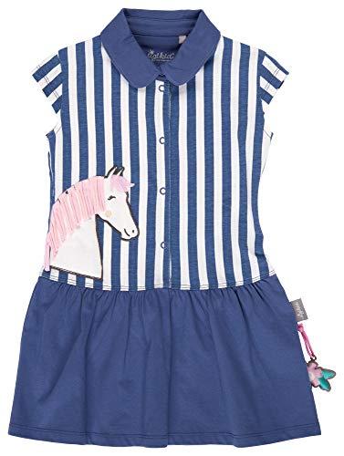 SIGIKID Mini - Mädchen Kleid Sommerkleid Kurzarm aus Bio-Baumwolle, abnehmbares Hangtoy, Blau, 122