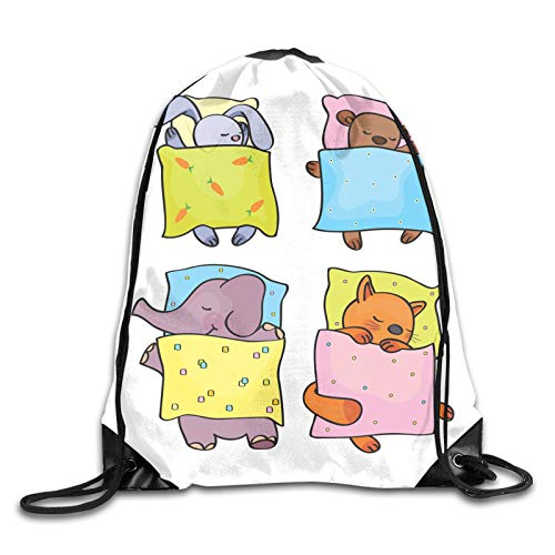 Drawstring Gym Bag Backpack,Sleepy Animal Siblings Friendship Sleepover Theme Cute Kitten Cub Rabbit And Calf,Rucksack for School Sports Travel Women Children Birthday Present