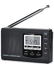 HanRongDa 防災ラジオ 小型 短波/AM/FM/ワイドFM対応 電池式 携帯高感度 60局メモリー デジタル時計とスリープタイマーとアラーム機能付き 災害 アウトドア ホームに最適 日本語説明書付属 HRD-310