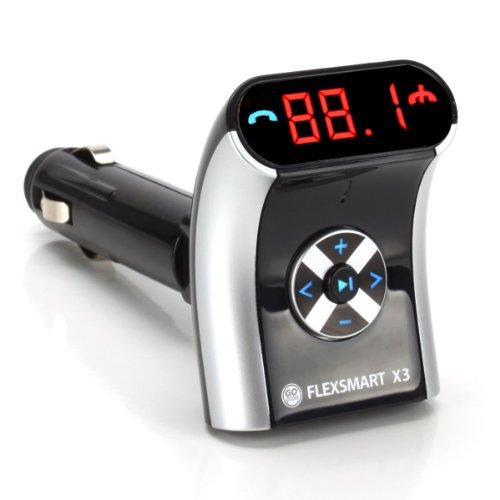 GOgroove FlexSmart X3 Mini-Bluetooth-FM-Transmitter mit Freisprechfunktion, Audio-Wiedergabe und USB-Ladefunktion, kompatibel mit Android-, Tablets, MP3-Playern und mehr Geräten
