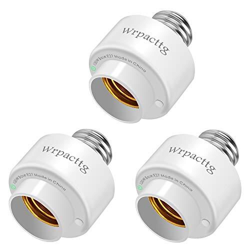 3 casquillos Smart WIFI E27 Smart bombilla LED adaptador inalámbrico, temporizador, control de mando a distancia, funciona con Alexa, sin necesidad de hub