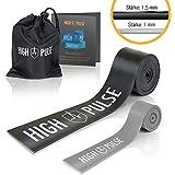 High PulseFloss Band | Incluye – Bolsa de transporte y accesorios – 2 bandas compresión – Bandas fitness de atletas para articulaciones, tendones y ligamentos + mini banda para los dedos.
