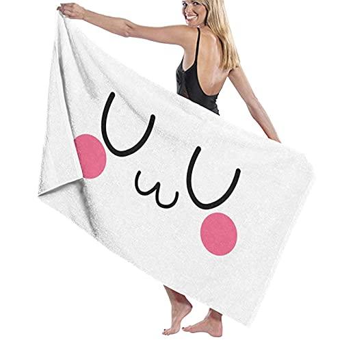 Bonita toalla de playa Em-Oji, toalla de baño, para viajes, natación, camping, vacaciones, súper absorbente, de secado rápido, sin arena, compacta, ligera
