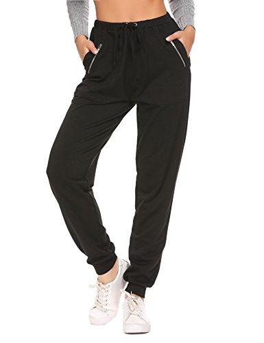 ADOME Damen Hose Jersey-Hose Sporthose mit Taschen Swearhose Elastische Taille mit Tunnelzugbund