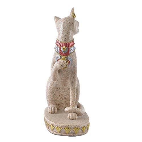 Naliovker Sand Stein Bastet Statue ?gyptische Katze Gott Figur Katze Altes ?gypten Natürlichen Sand Stein Handwerk Skulptur Haus Desk Dekor B