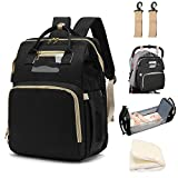 LBW Diaper Backpack with Folding Crib Bassinet, Large Capacity Bag for Baby Travelling Includes Diaper Changing Pad and Practical Wipes Side Pocket, Black
