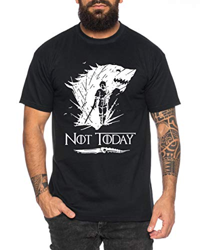 Not Today II - Camiseta de Hombre Targaryen Thrones Game of Stark Lannister Baratheon Daenerys Khaleesi TV BLU-Ray DVD, Farbe2:Negro, Größe2:X-Large