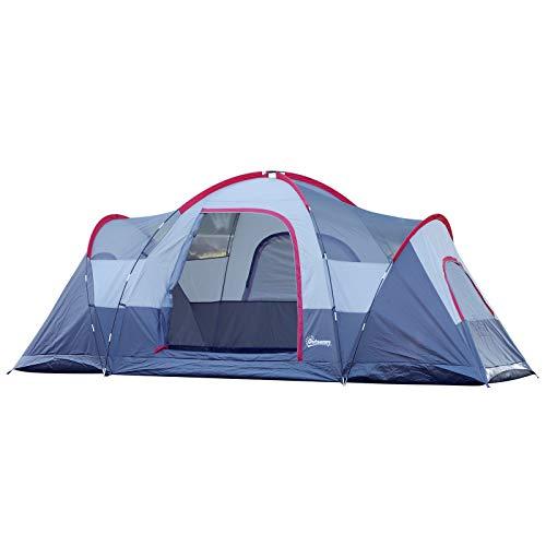 Outsunny Tente de Camping familiale 5-6 pers. - Grande Porte + 3 fenêtres - dim. 4,55L x 2,3l x...