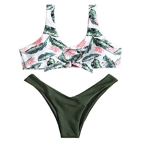 YANFANG Bikini de Dos Piezas para Mujer,Mujeres Imprimir Tube up Traje de baño Push-Up Ropa de Playa,Tops de Bikini Suave Acolchado Tops y Braguitas Conjuntos Bikinis Bañador