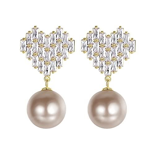 AZPINGPAN Pendientes con Colgante de Perlas de Cristal Little Love, Moda Retro Chispeante Corta 925 Earpin Lady Party Regalo de joyería Exquisito