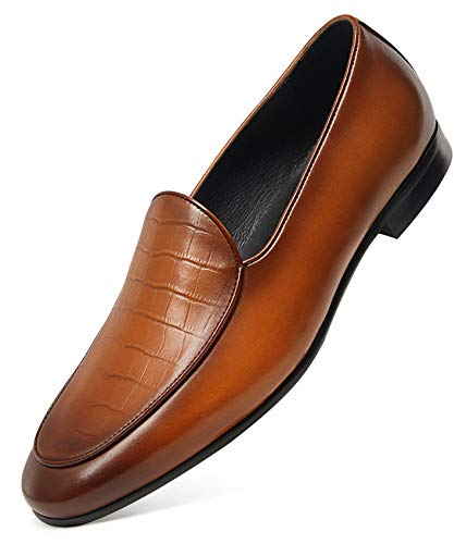 GIFENNSE Men's Dress Shoes Slip-On Loafers Leather Formal Shoes 7 Brown