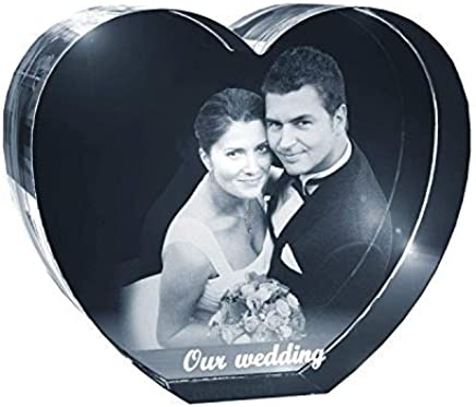 Personalized Photo Engraving Crystal Heart Gift