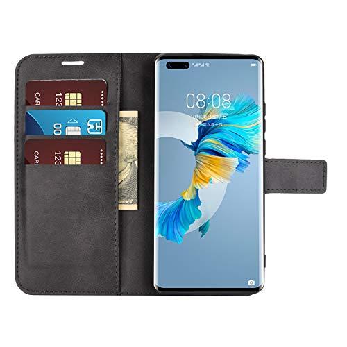 DAMAIJIA für Huawei Mate 40 Pro Hüllen Klapphülle PU Leder Silikon Wallet Schutzhülle Schutz Mobiltelefon Flip Back Cover für Mate 40 Pro Huawei 2020 Tasche Handy Zubehör (Black)